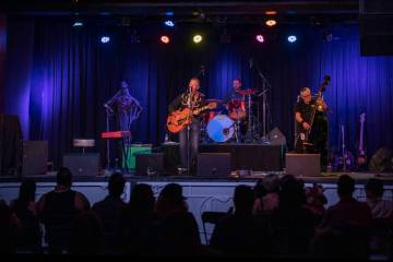 The Reverend Horton Heat preform at the Fremont Country Club on Thursday, Oct. 22, 2020, in dow ...