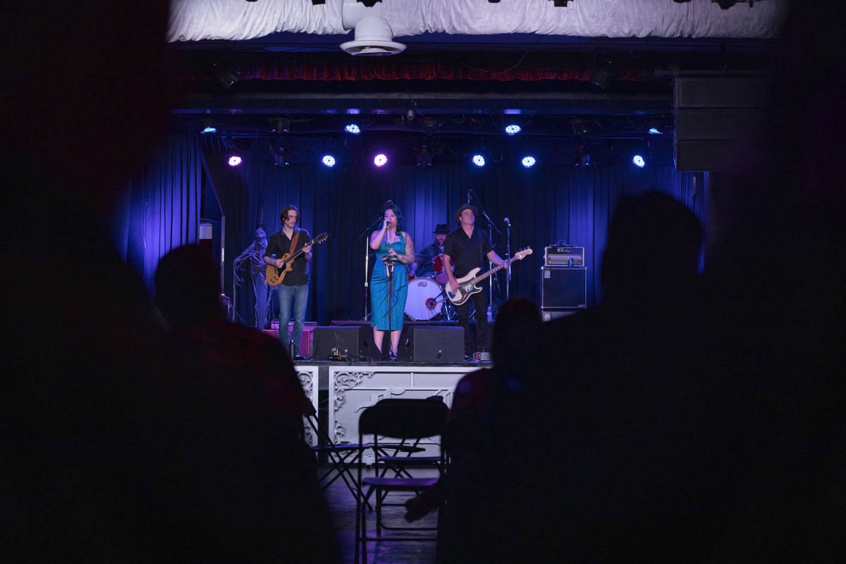Concert goers listen to Shanda & the Howlers preform as live music returns at the Fremont C ...