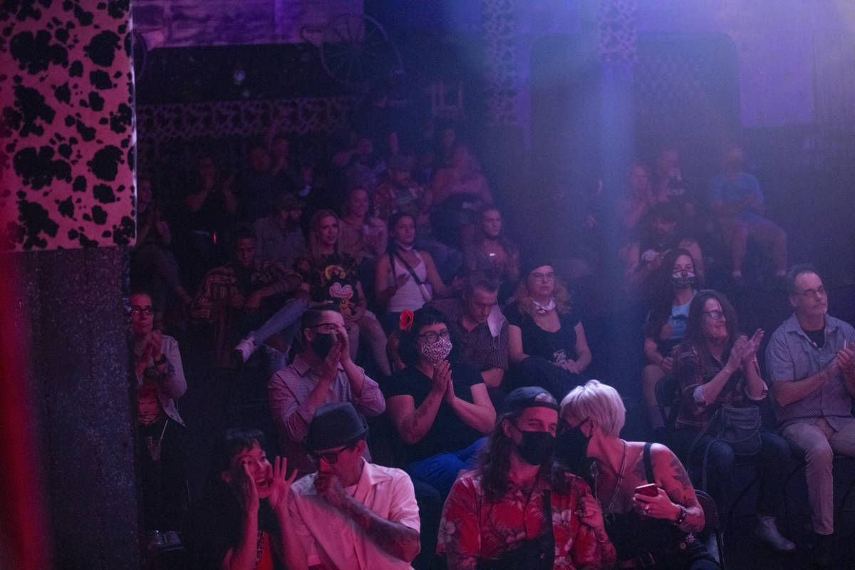 The crowd cheers for Reverend Horton Heat at the Fremont Country Club on Thursday, Oct. 22, 202 ...