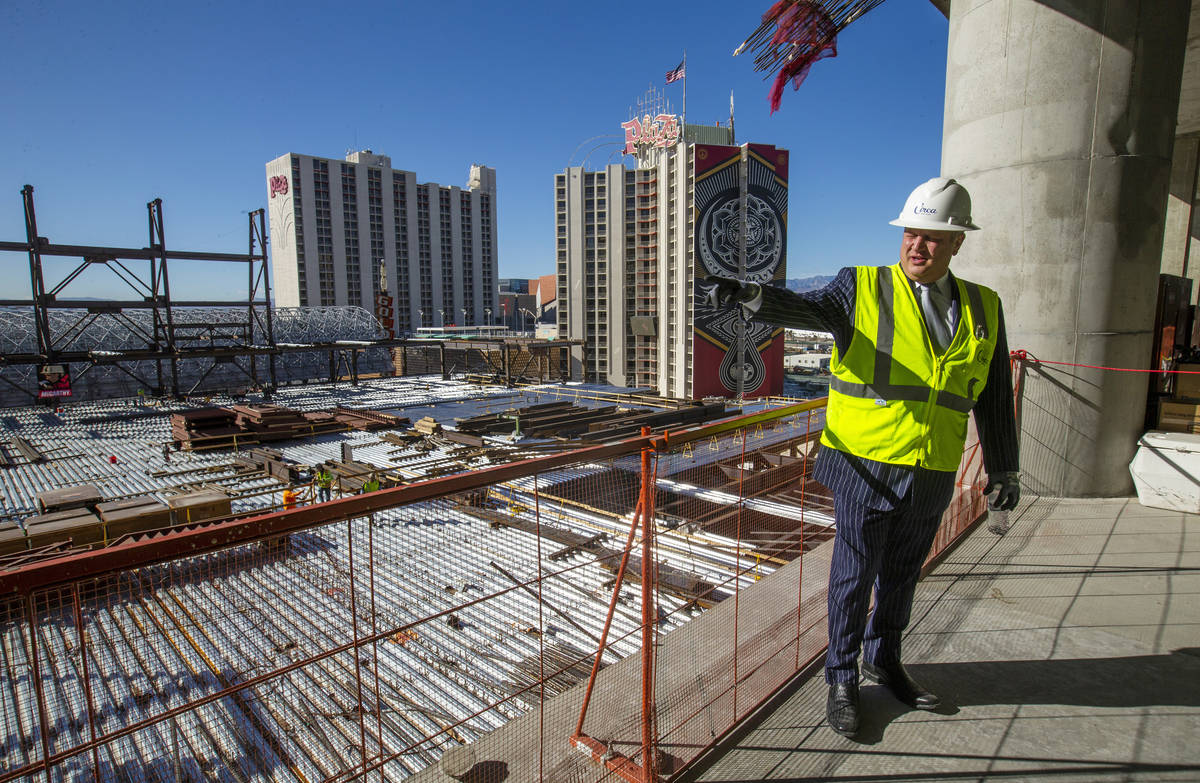 Developer Derek Stevens gives a tour of the pool area during a construction update of the Circa ...