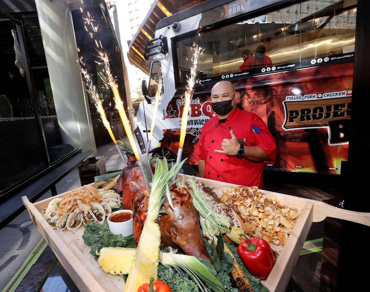 Chef Rex Bernales at Project BBQ at Circa in Las Vegas during a preview of the downtown resort ...