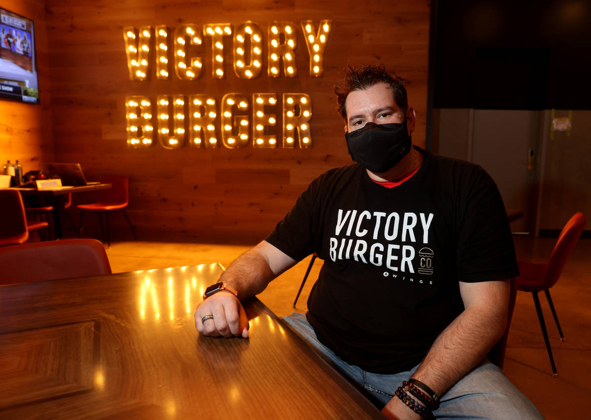 Co-owner Chris Sotiropoulos at Victory Burger & Wings Co. inside Circa in Las Vegas during a pr ...
