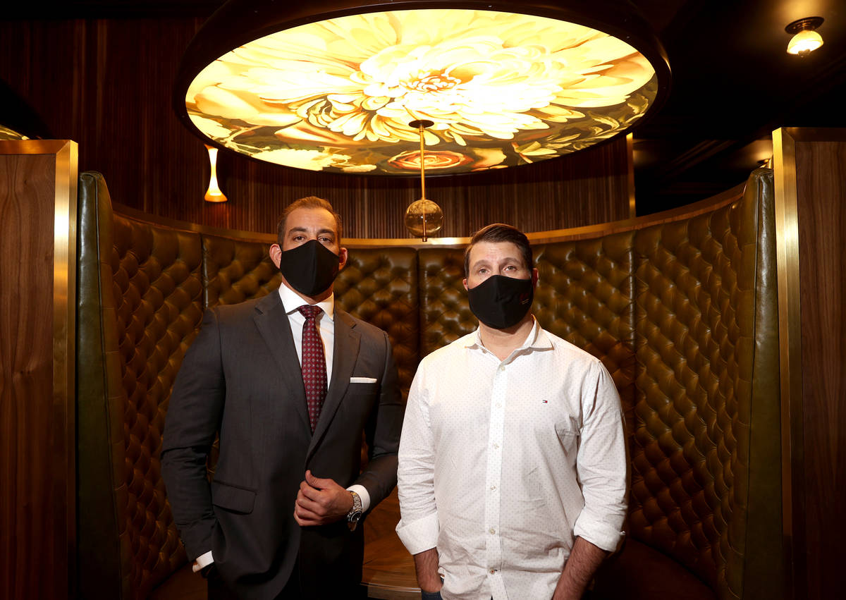 Yassine Lyoubi, left, and Marco Cicione at Barry's Downtown Prime inside Circa in Las Vegas dur ...