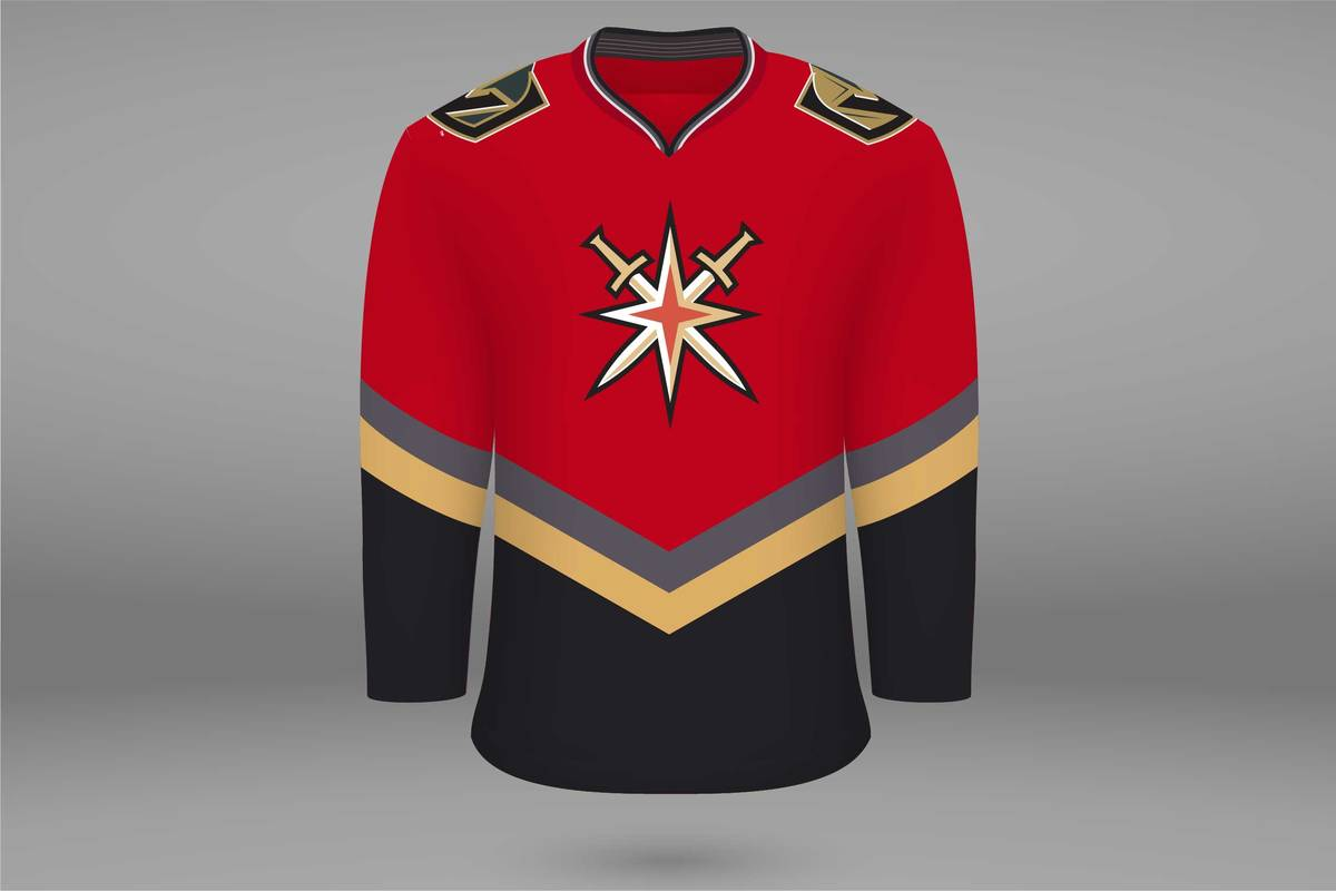 """A mock-up of what the Golden Knights' """"Reverse Retro"""" jersey may look like. (Wes Rand/Las Vegas ..."""