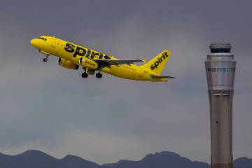 A Spirit Airlines aircraft takes off from McCarran International Airport in 2019 in Las Vegas. ...