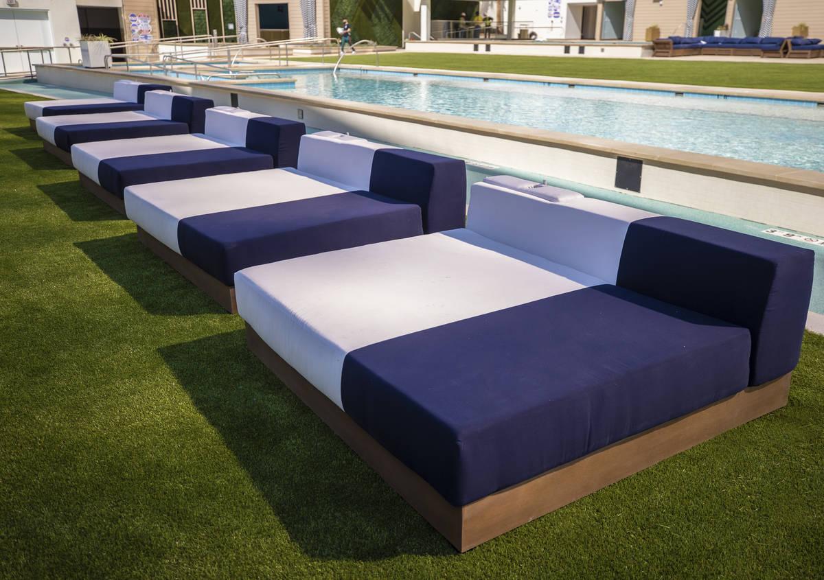 Modern pool-side furniture at Stadium Swim on Monday, Oct. 19, 2020, at Circa, in Las Vegas. (B ...