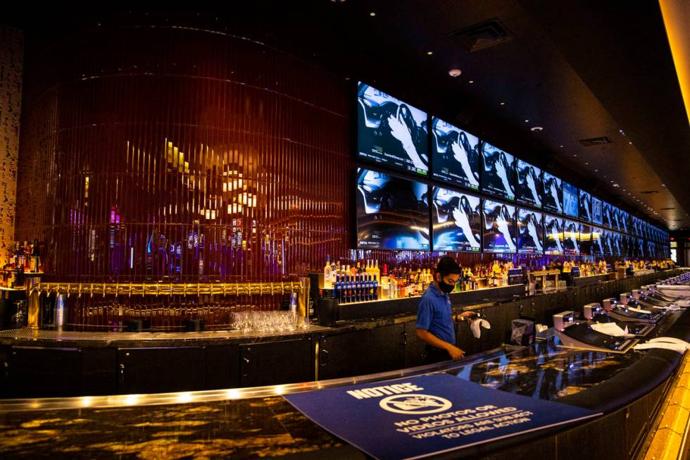 An employee works at the Mega Bar during a tour of Circa, the first from-the-ground-up casino b ...
