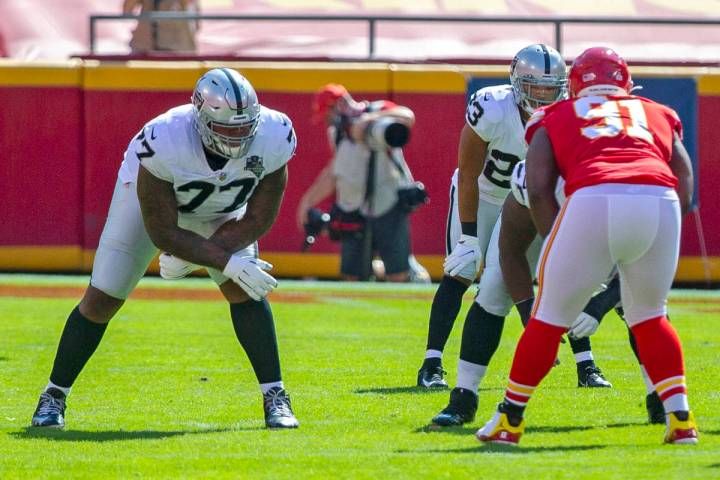 Las Vegas Raiders offensive tackle Trent Brown (77) lines up to block against Kansas City Chief ...
