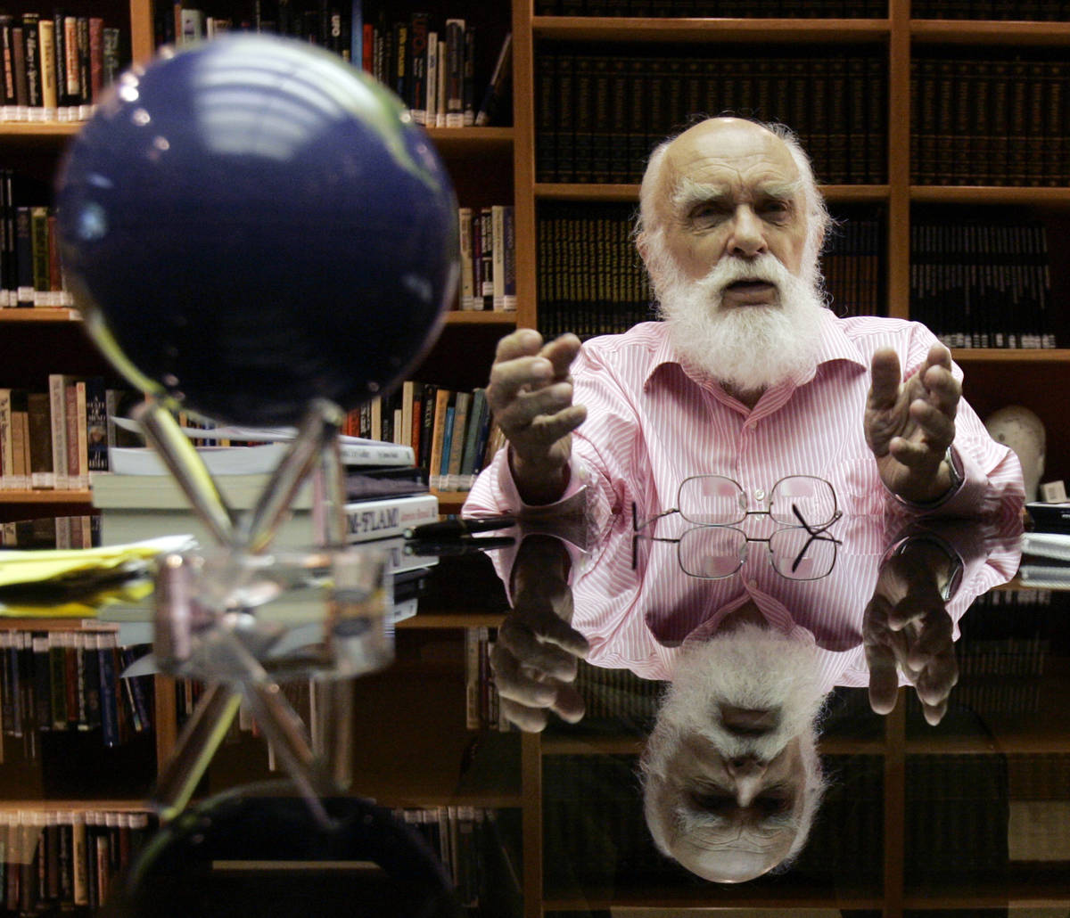 FILE - In this Friday, June 29, 2007, file photo, James Randi talks to a reporter in Fort Laude ...