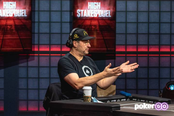 "Phil Hellmuth on the set of ""High Stakes Duel"" on PokerGO. (PokerGO)"