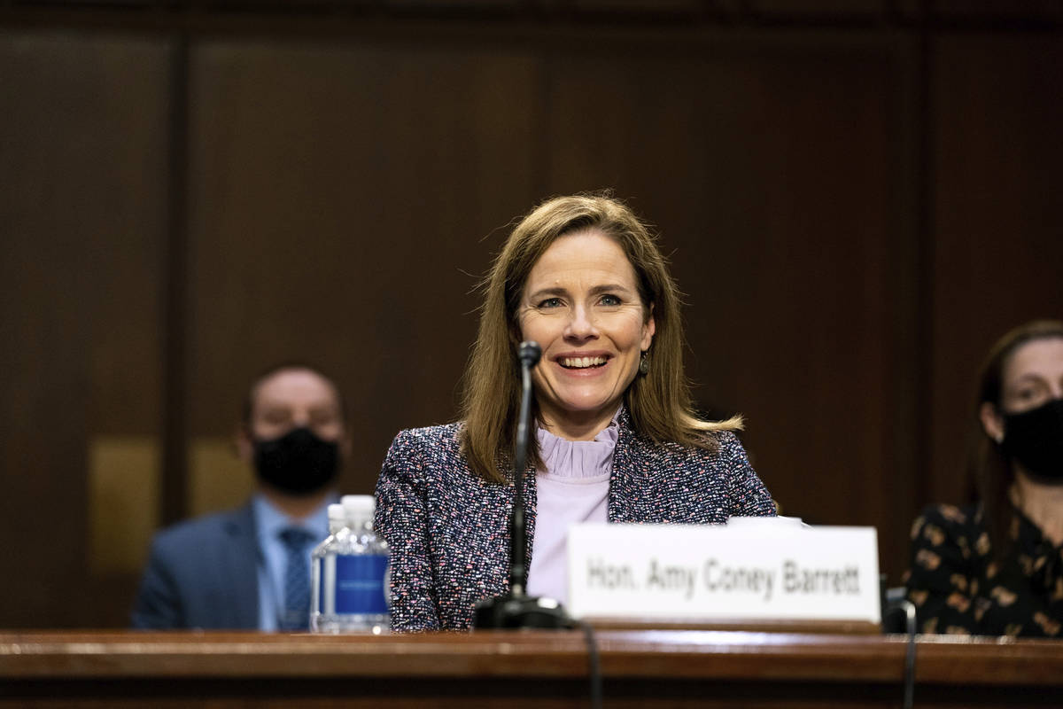 Supreme Court nominee Amy Coney Barrett testifies during the third day of her confirmation hear ...