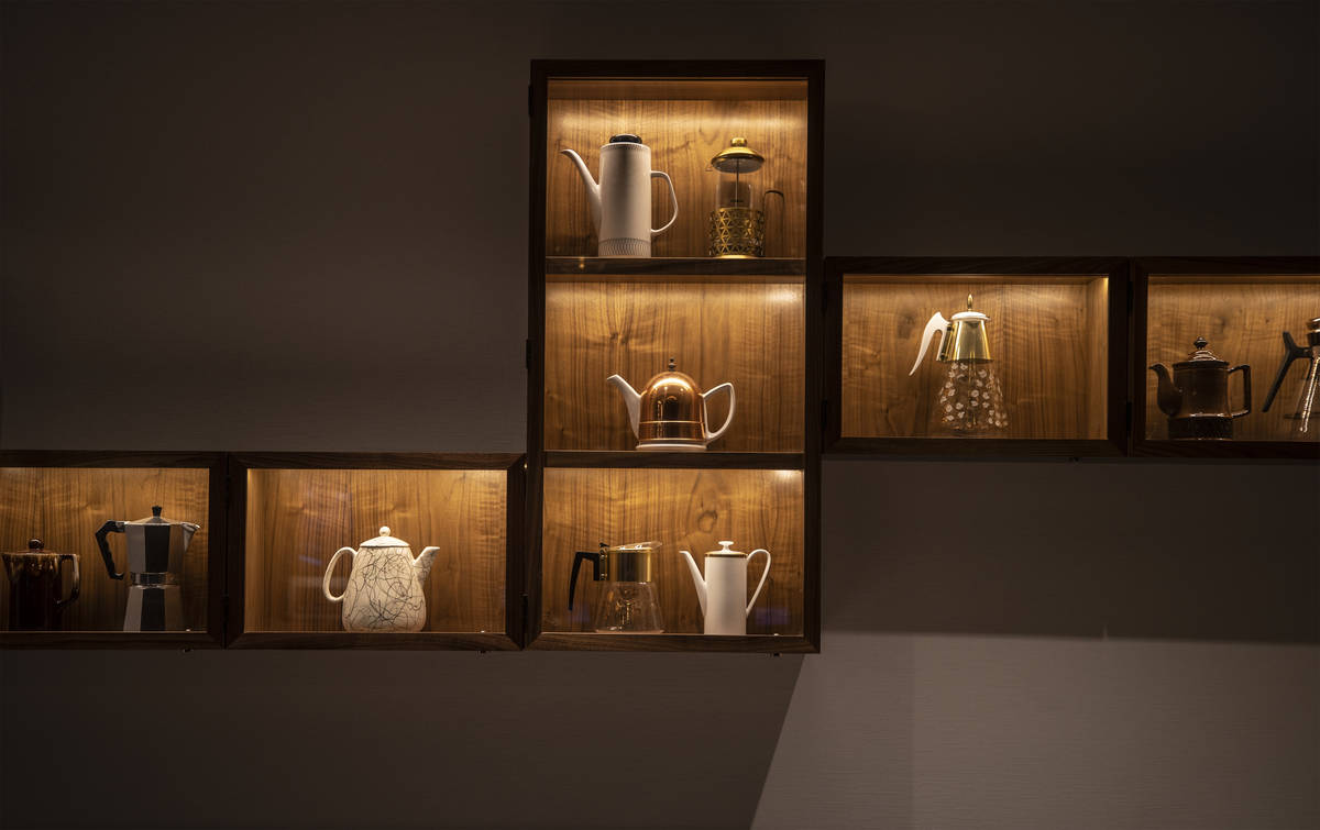 Decorative coffee pots and presses are framed at Circa on Monday, Oct. 19, 2020, in Las Vegas. ...
