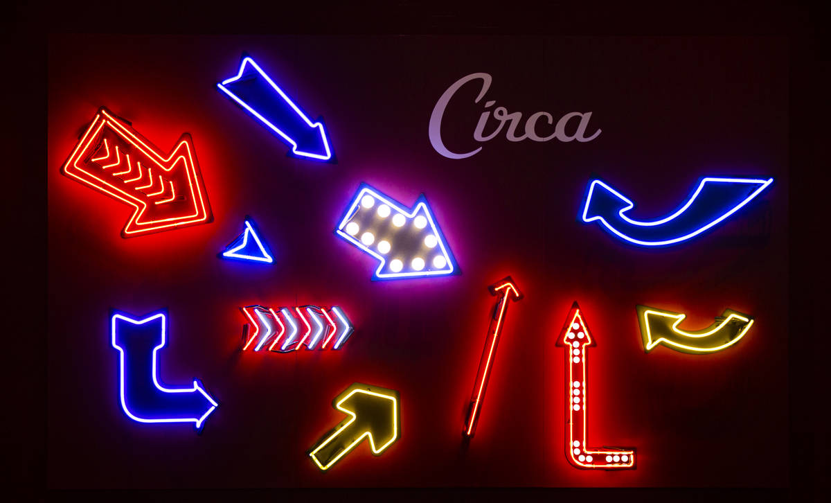Neon arrows are displayed on the second floor during a tour of Circa, the first from-the-ground ...