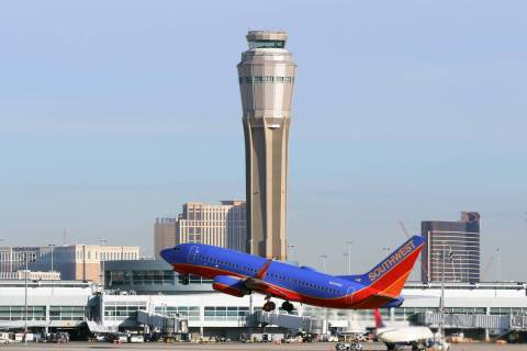 A Southwest Airlines plane takes off from McCarran International Airport in Las Vegas. (Bizuaye ...