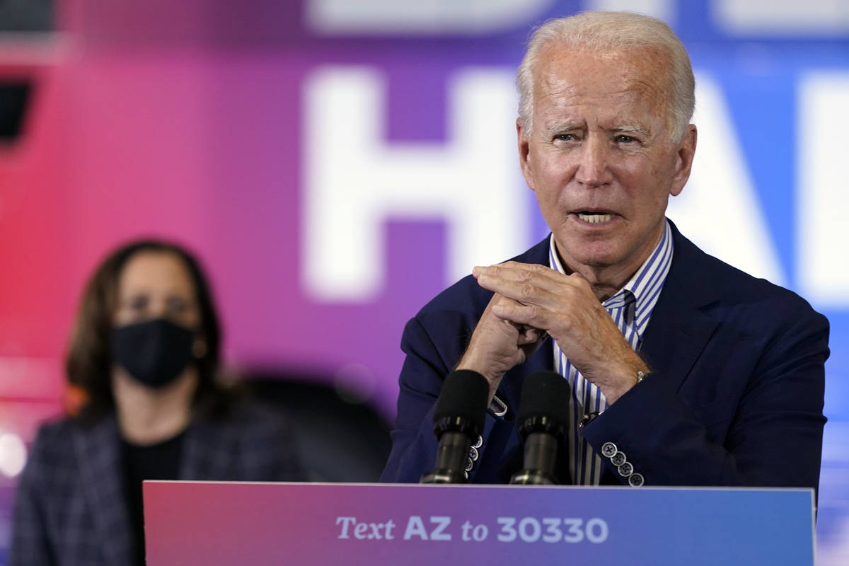 Democratic presidential candidate former Vice President Joe Biden speaks as Democratic vice pre ...