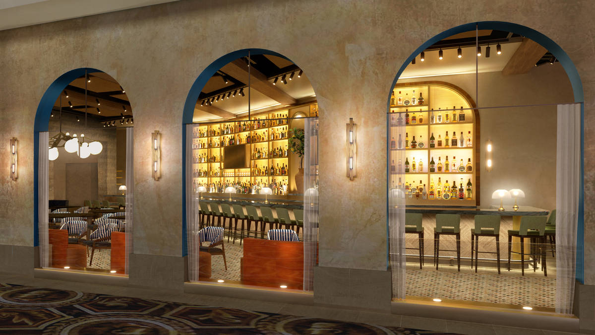 An artist's rendering of the bar area at Bobby Flay's Amalfi at Caesars Palace. (Olivia Jane De ...