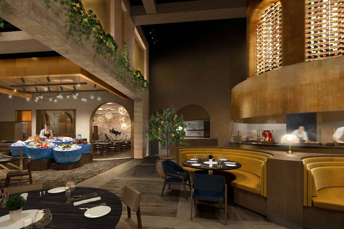 An artist's rendering of the bar area in Bobby Flay's Amalfi at Caesars Palace. (Olivia Jane De ...