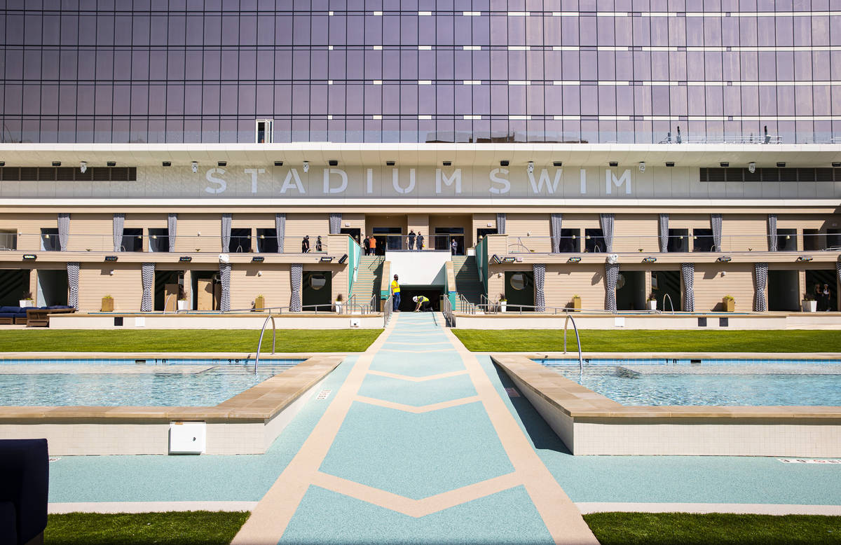 Cabanas at Stadium Swim at Circa, the first from-the-ground-up casino built in downtown Las Veg ...