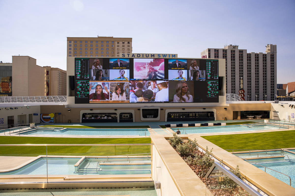 Stadium Swim, which features a 40-foot tall, 14 million pixel screen, at Circa, the first from- ...