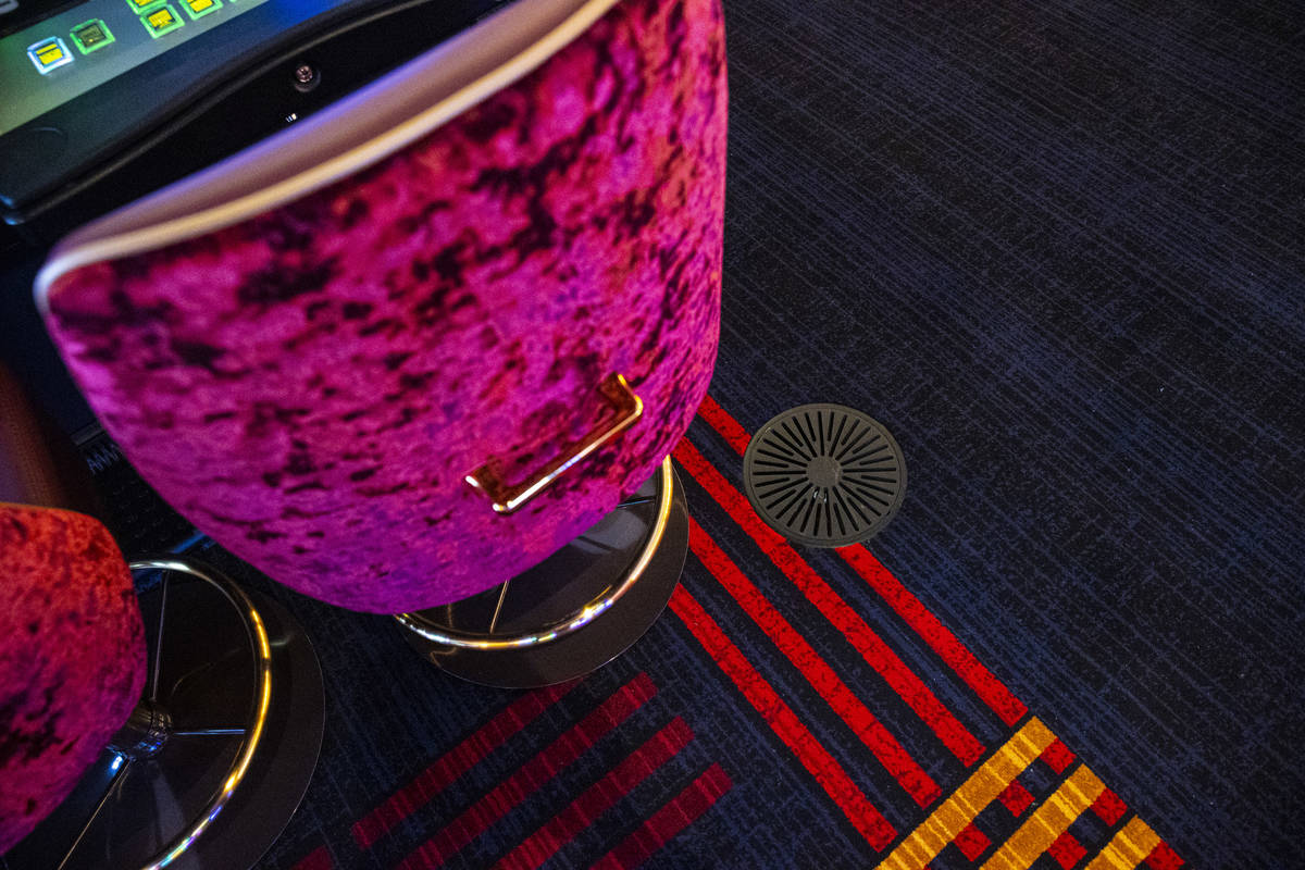 A ground air vent is seen on the casino floor carpet during a tour of Circa, the first from-the ...