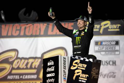 Kurt Busch (1), of Las Vegas, celebrates in Victory Lane after winning a NASCAR Cup Series ...