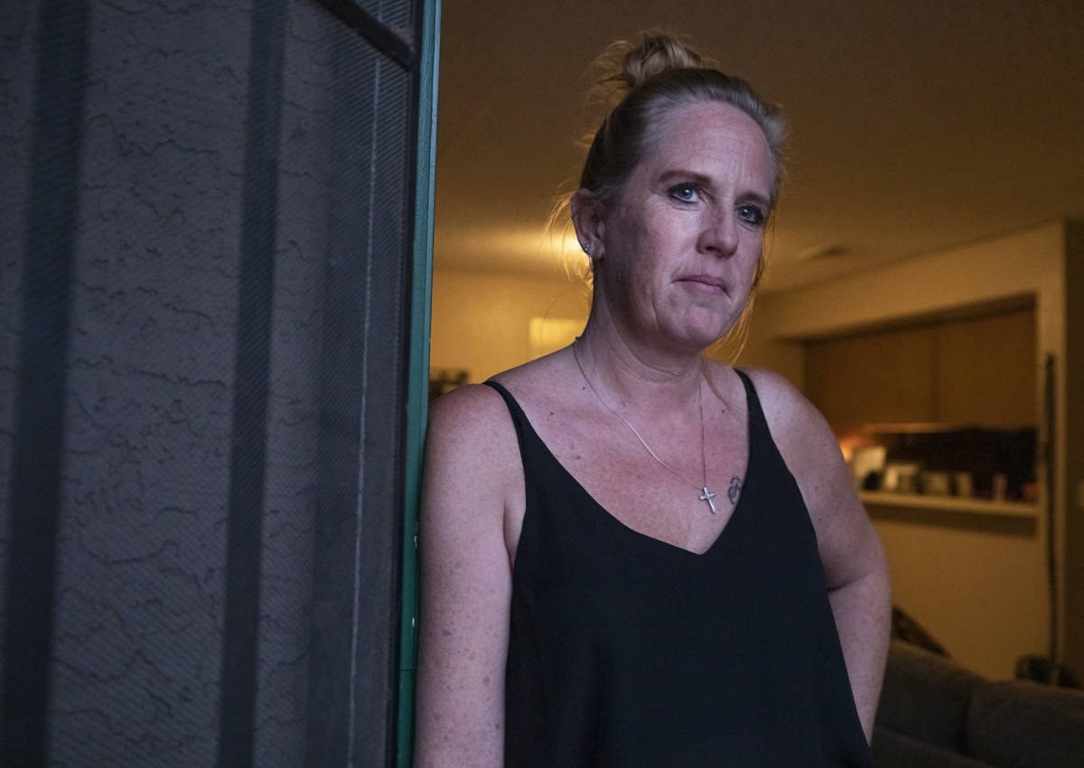 Angela Jones, 49, is photographed at her Las Vegas apartment on Tuesday, Oct. 20, 2020. (Elizab ...