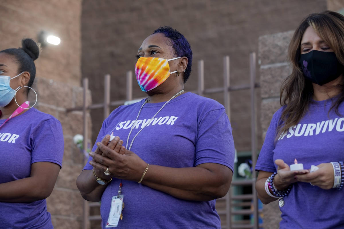 The Shade Tree case manager Yasmin McDowell, left, case manager Pamela Kneal, center, and CEO L ...