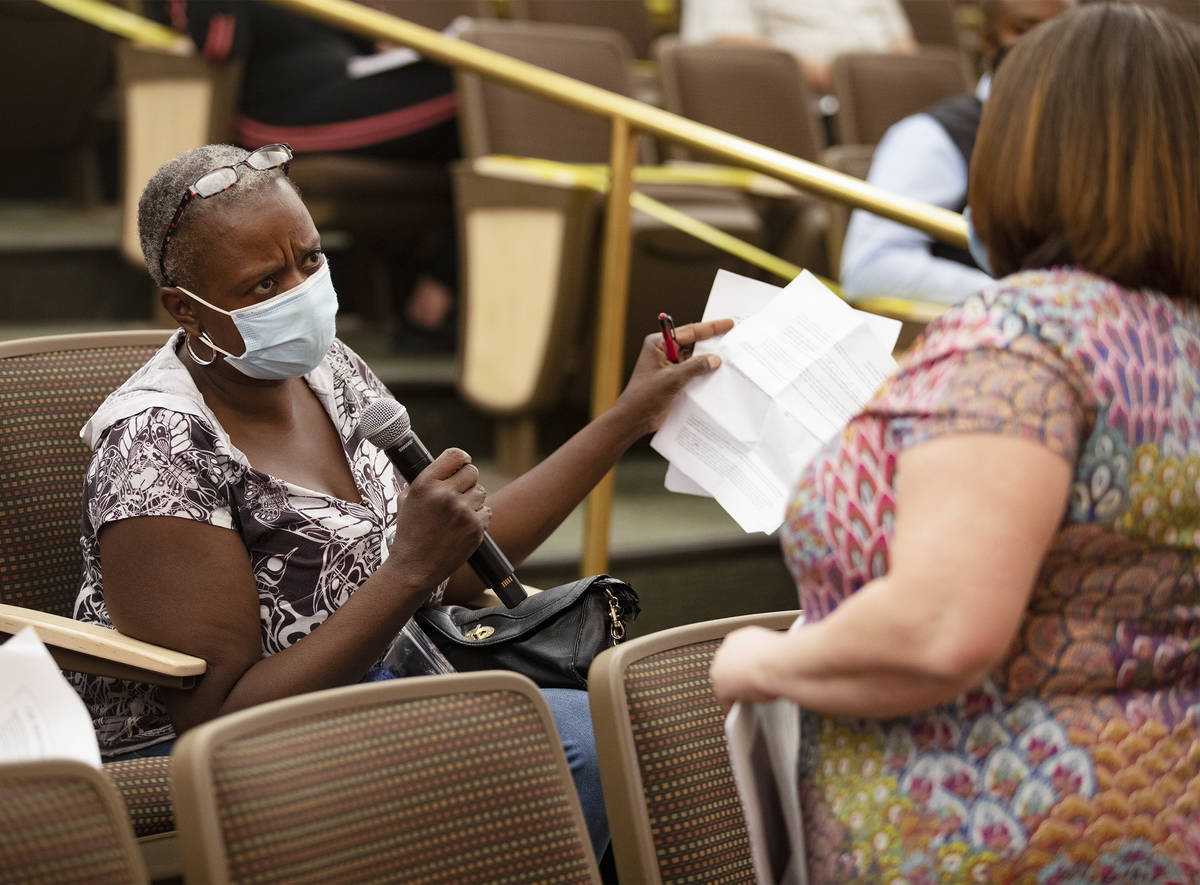 Rhonda Manuel, who was evicted the morning of this meeting, asks a question of Nevada Legal Ser ...
