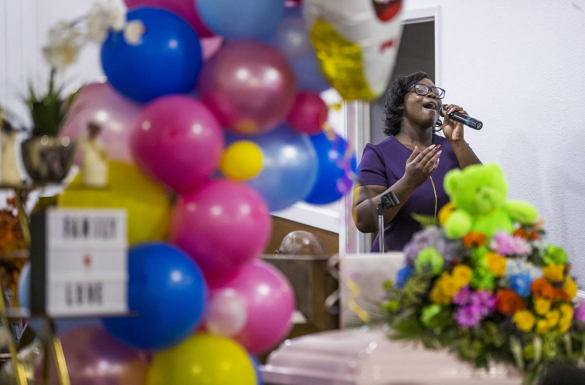 Janae Cannon sings during the funeral service for Sayah Deal at the Tried Stone Baptist Church, ...