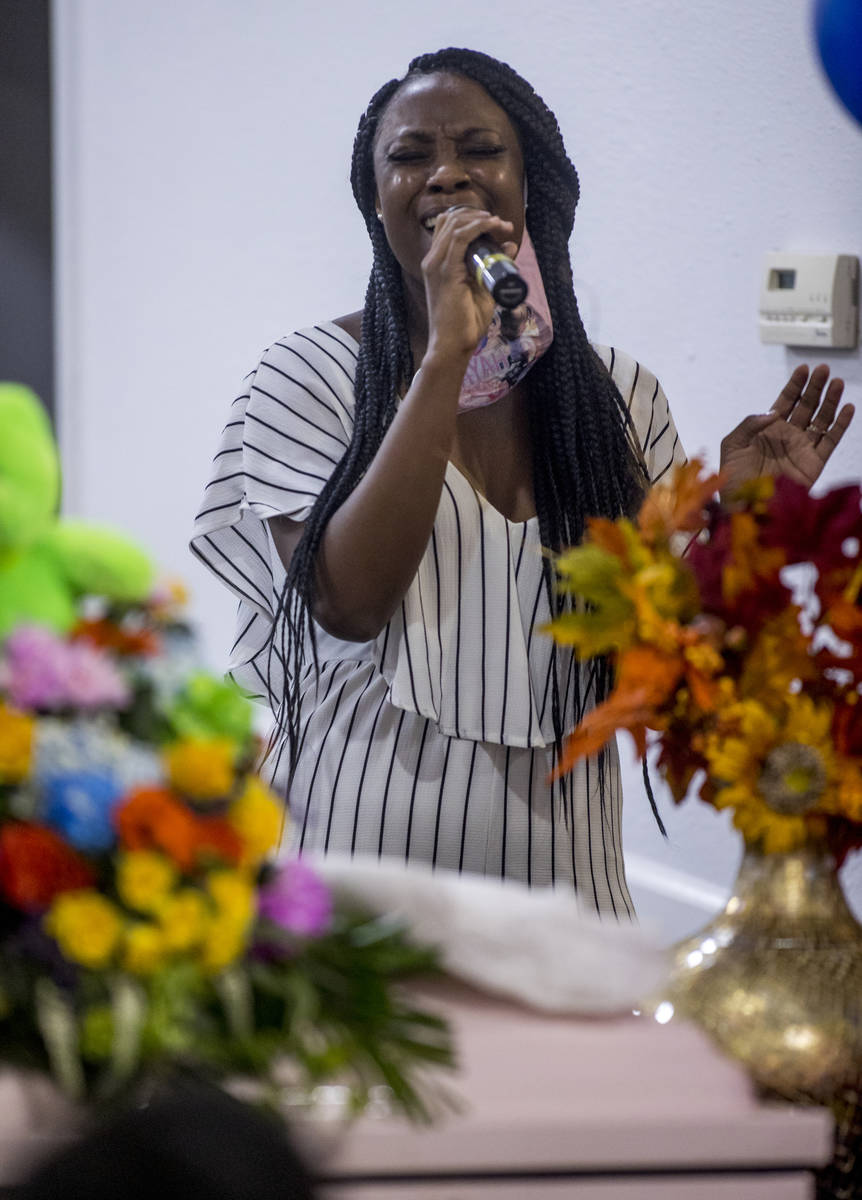 Latasha Johnson sings during the funeral service for Sayah Deal at the Tried Stone Baptist Chur ...