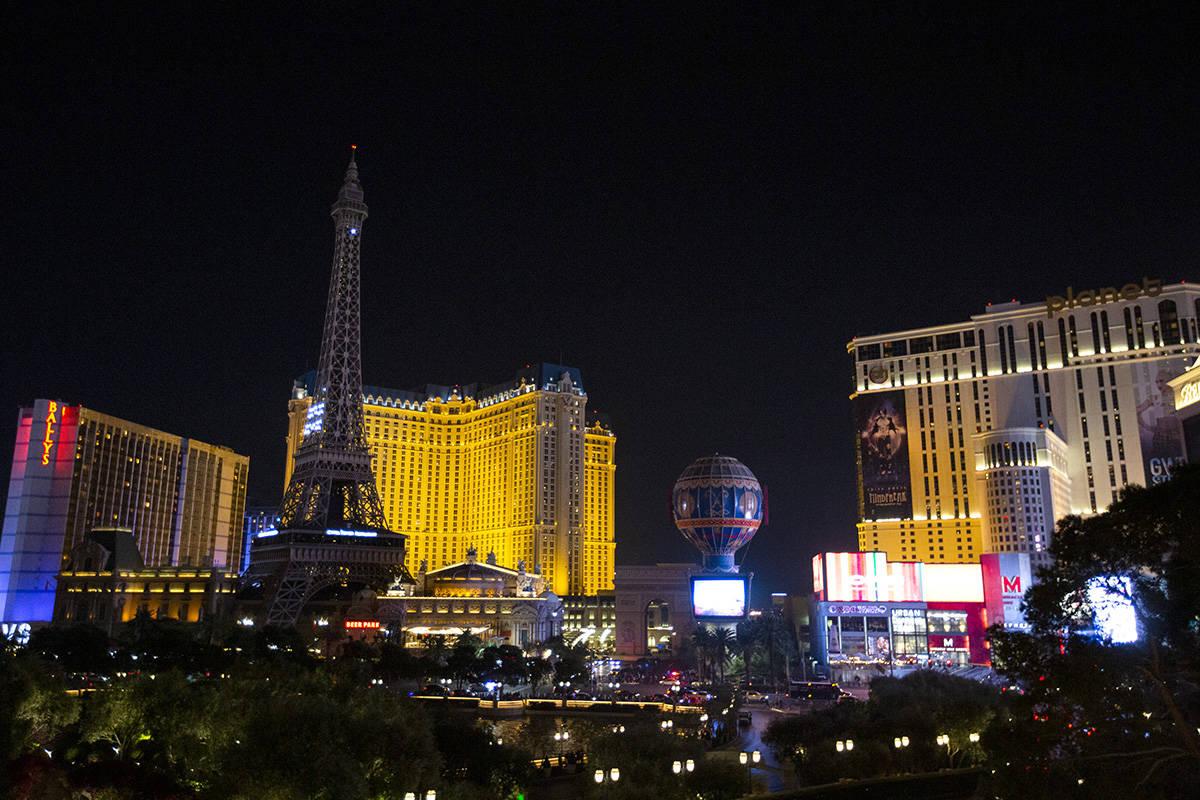 Paris Las Vegas is dark during a power outage on Thursday, Oct. 22, 2020, in Las Vegas. (Ellen ...