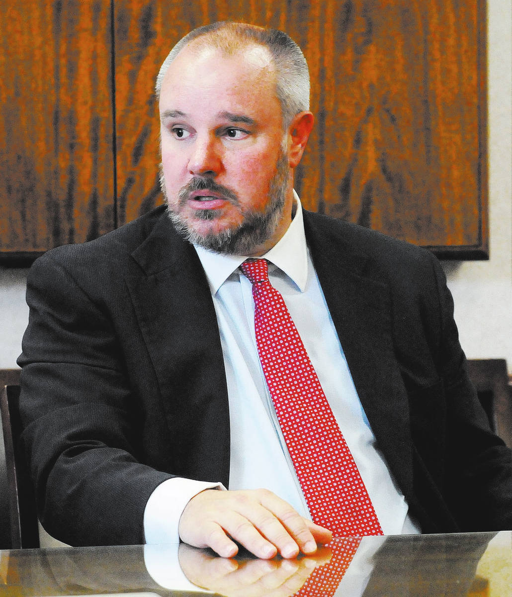 Trevor Hayes, candidate for District 2, Board of Regents, responds to questions at a Review-Jou ...