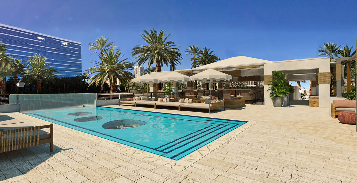 A rendering of the pool space. (Courtesy, Virgin Hotels Las Vegas)