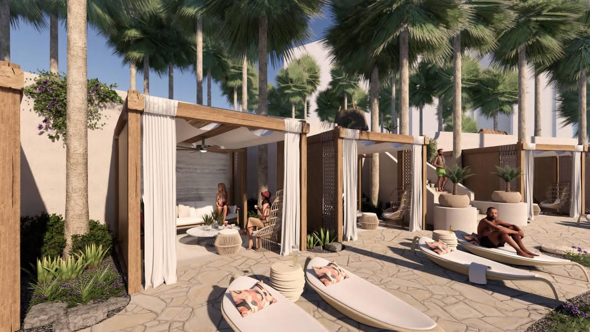 A rendering of pool cabanas. (Courtesy, Virgin Hotels Las Vegas)