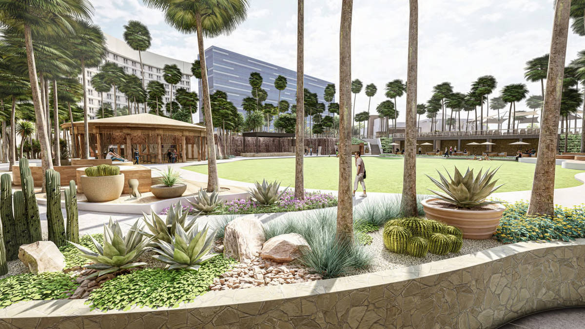 A rendering of the event lawn. (Courtesy, Virgin Hotels Las Vegas)