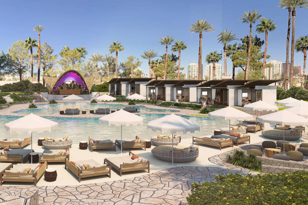 A rendering of the pool space. (Virgin Hotels Las Vegas)