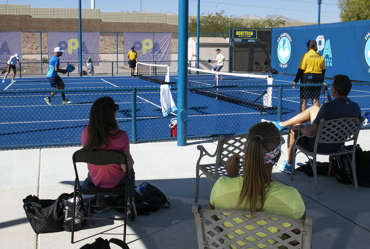 People watch the 2020 Pro Pickleball Association tournament on Thursday, Oct. 22, 2020, in Las ...