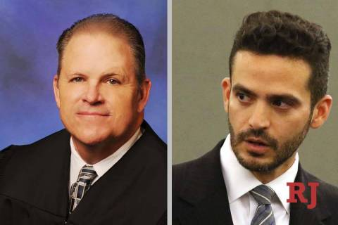 David Jones, left, and David Lopez-Negrete, candidates for Clark County District Court, Departm ...