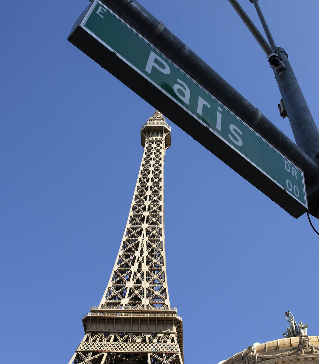 The Eiffel Tower at Paris Las Vegas is seen on Friday, Oct. 23, 2020, in Las Vegas. Hundreds of ...