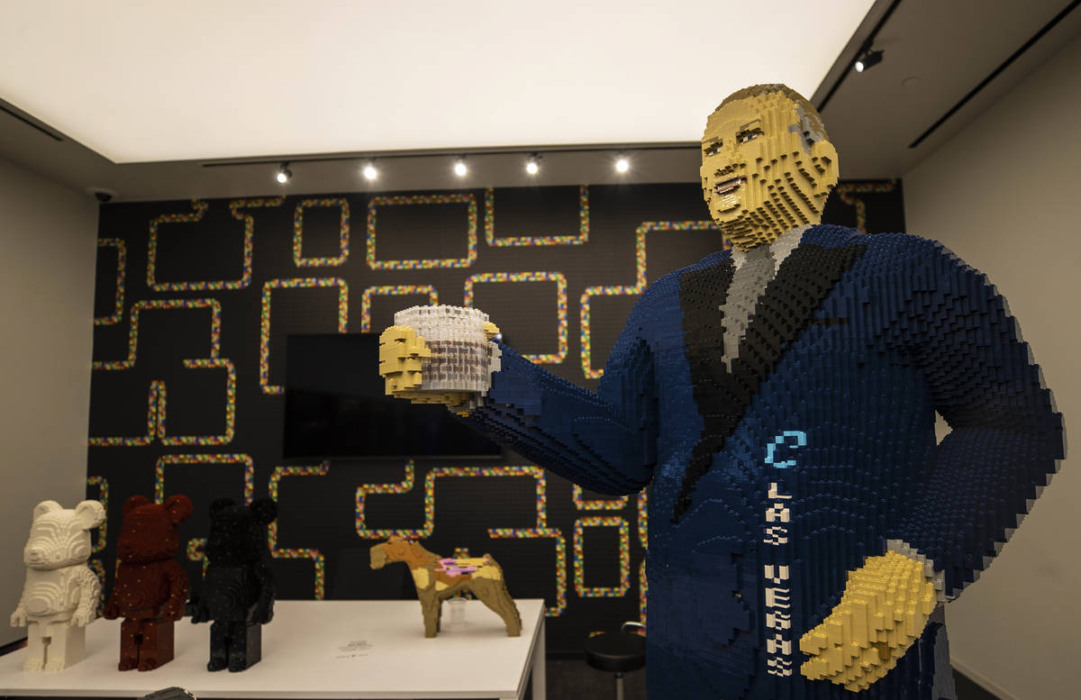 A life-sized Lego sculpture of casino executive Derek Stevens at Circa on Monday, Oct. 19, 2020 ...