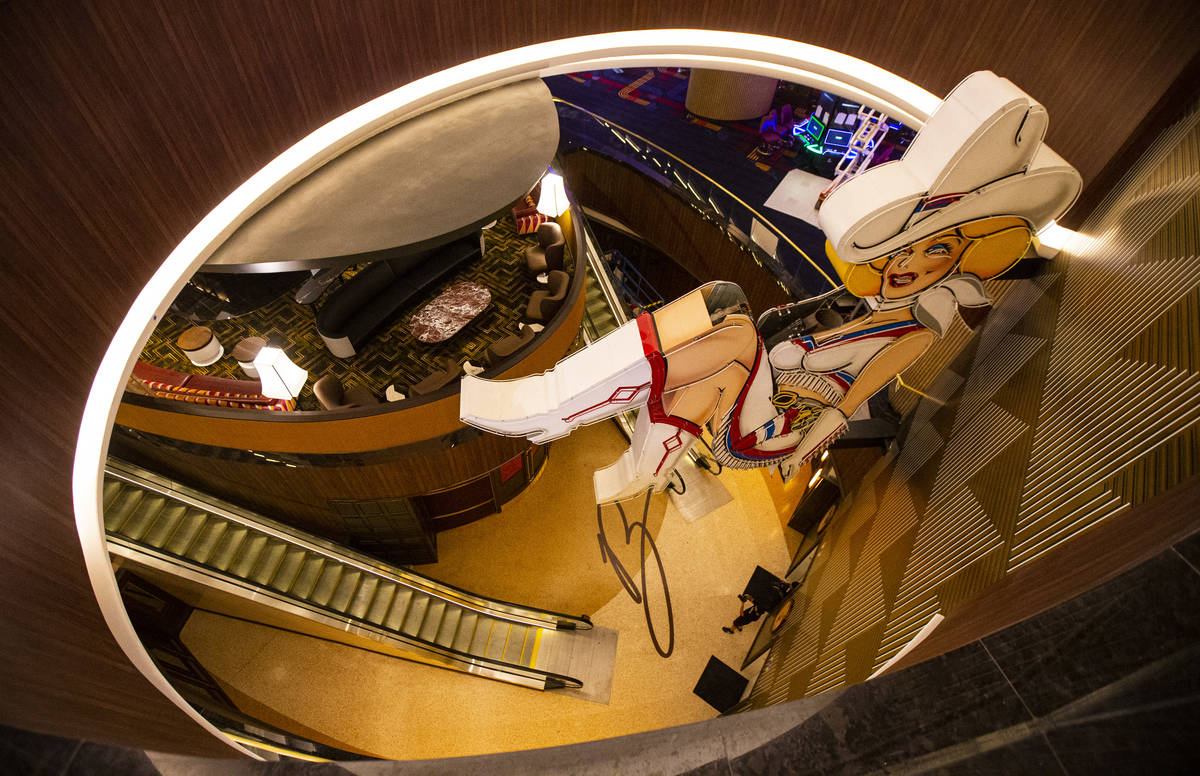 A view of Vegas Vickie from the second-level casino floor during a tour of Circa, the first fro ...