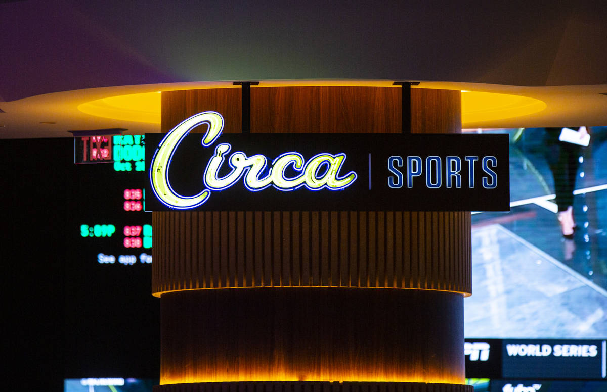 Signage for the Circa Sportsbook is seen during a tour of Circa, the first from-the-ground-up c ...