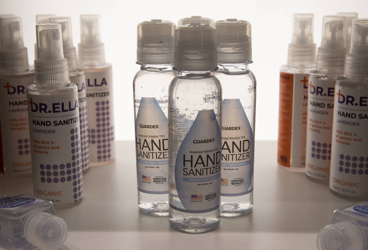 Hand sanitizer for sale at the COVID-19 Essentials store in the Forum Shops at Caesars Palace i ...