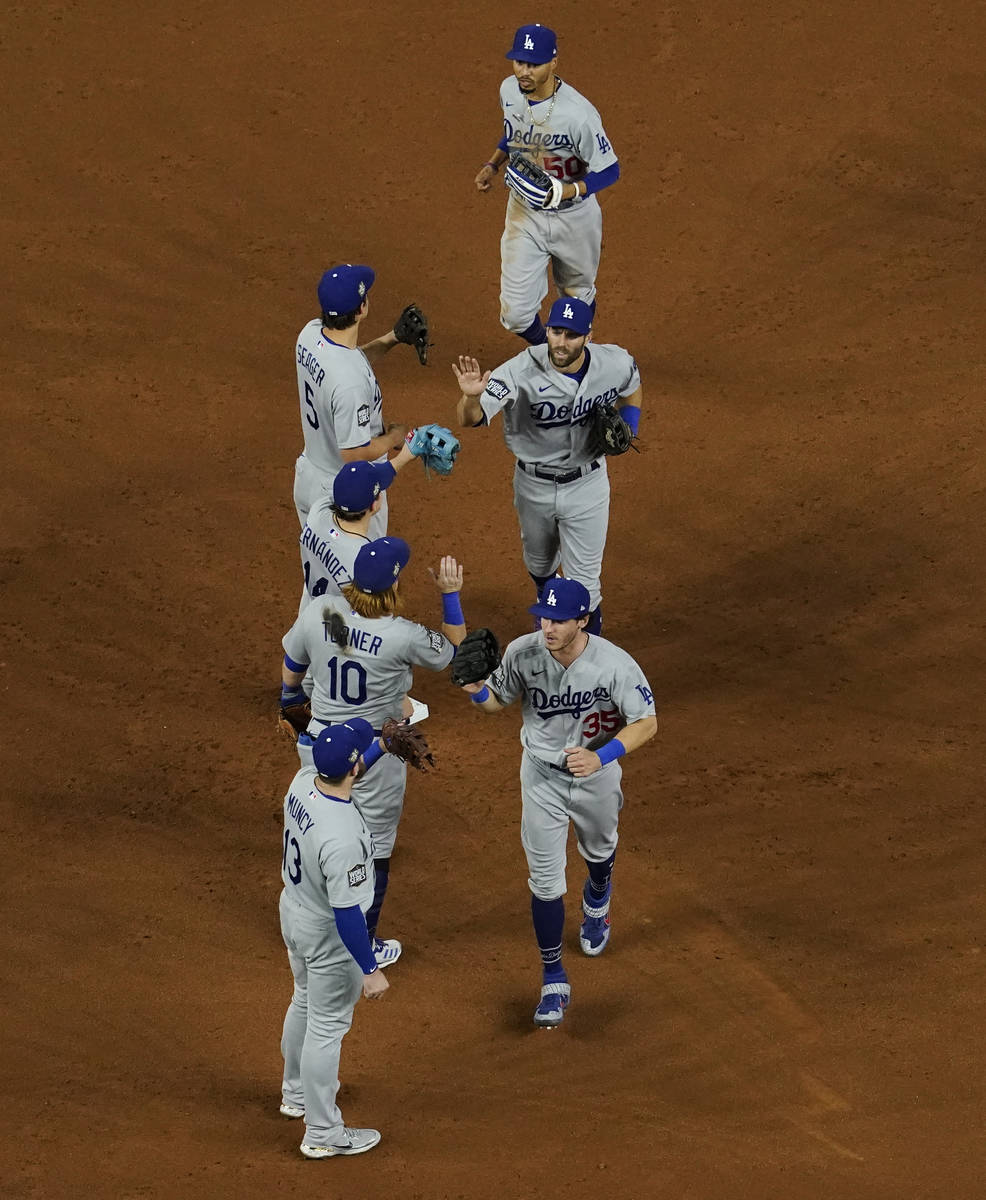 The Los Angeles Dodgers celebrates their win against the Tampa Bay Rays in Game 3 of the baseba ...