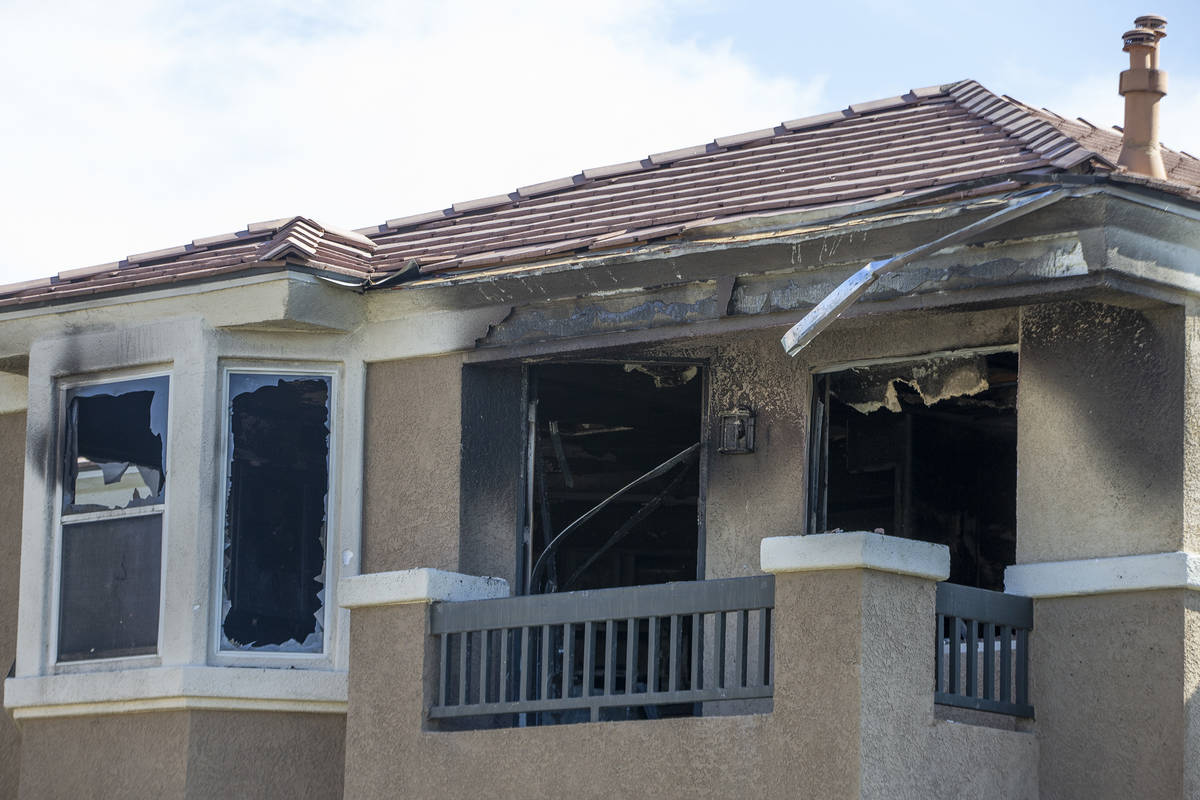 A burned apartment in a complex at 10115 Jeffreys Street, near South Eastern Avenue and St. Ros ...