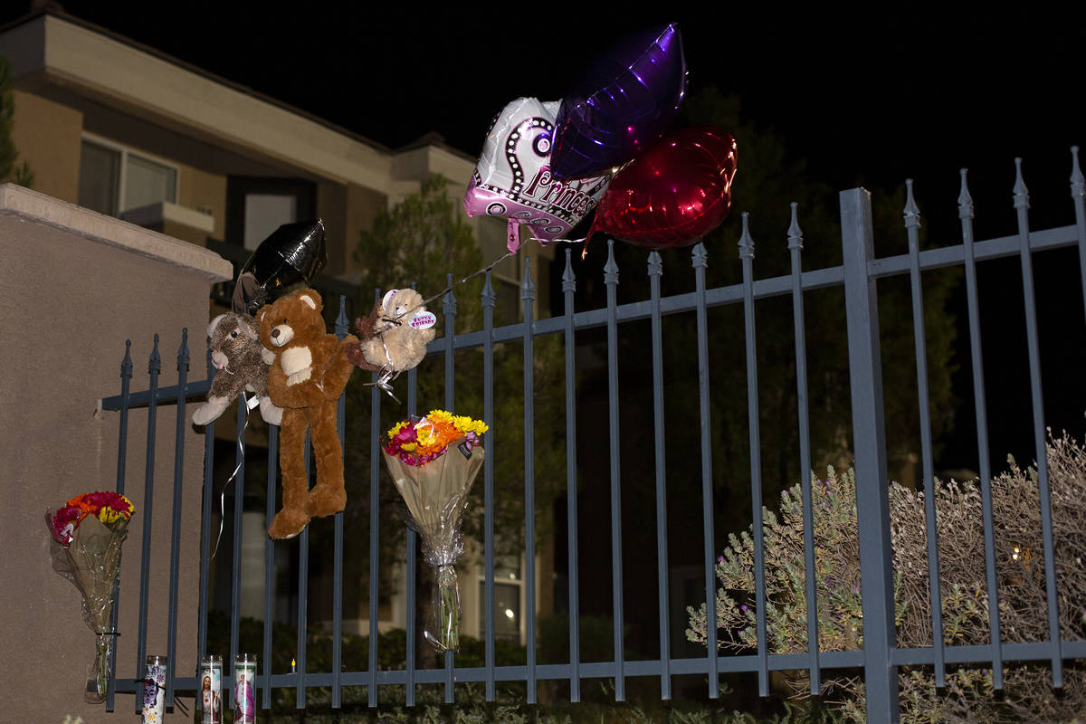 A small memorial for a 2-month-old girl who died earlier today during a domestic disturbance at ...