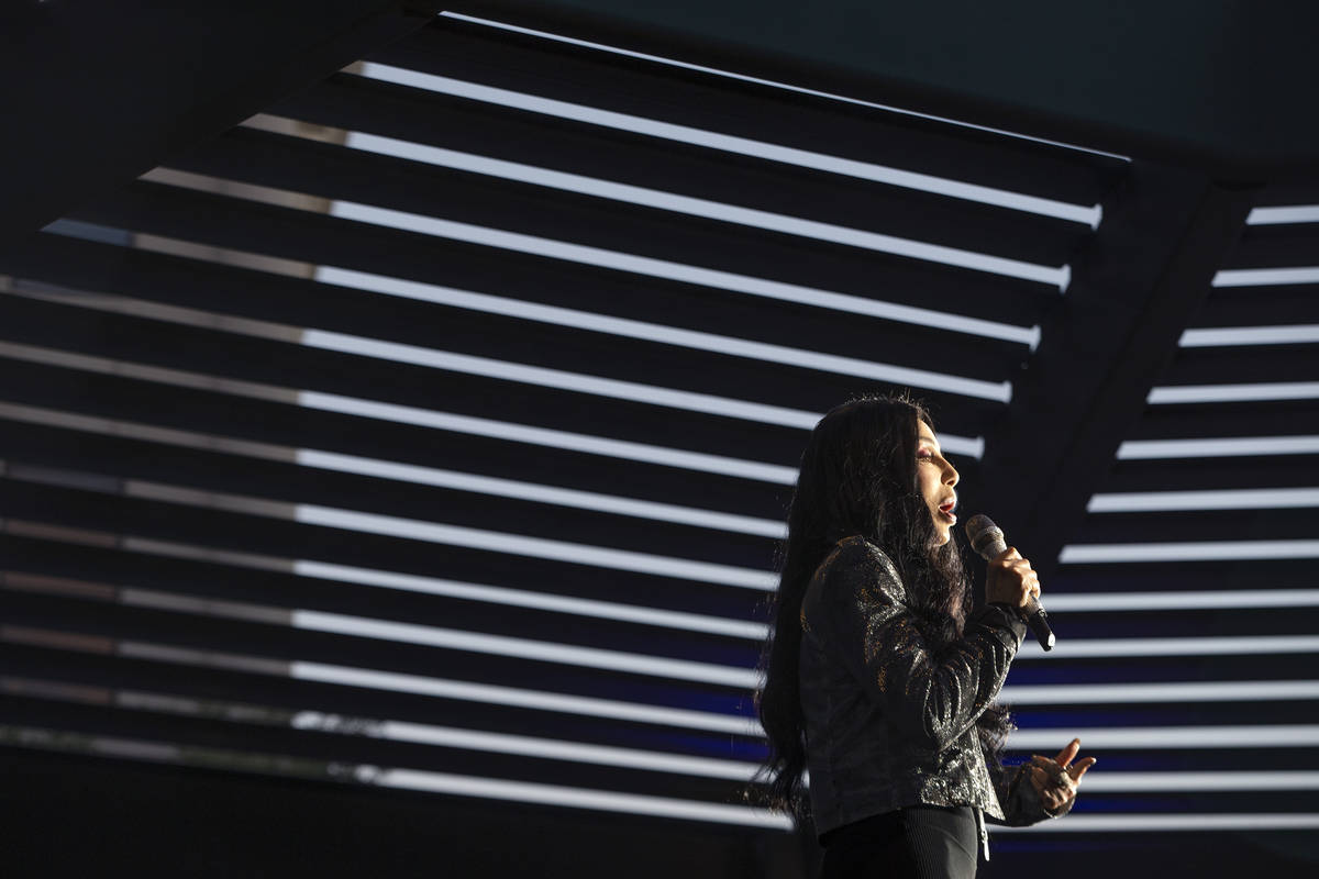 Cher encourages the audience to vote for Joe Biden and Kamala Harris at a voter mobilization ev ...