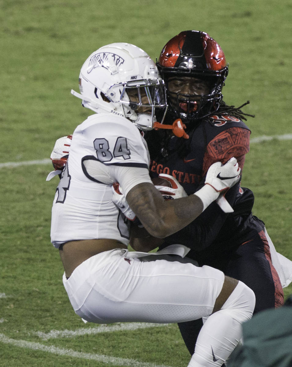 UNLV's Steve Jenkins is tackled by San Diego State's Dwayne Johnson Jr. during Saturday's M ...