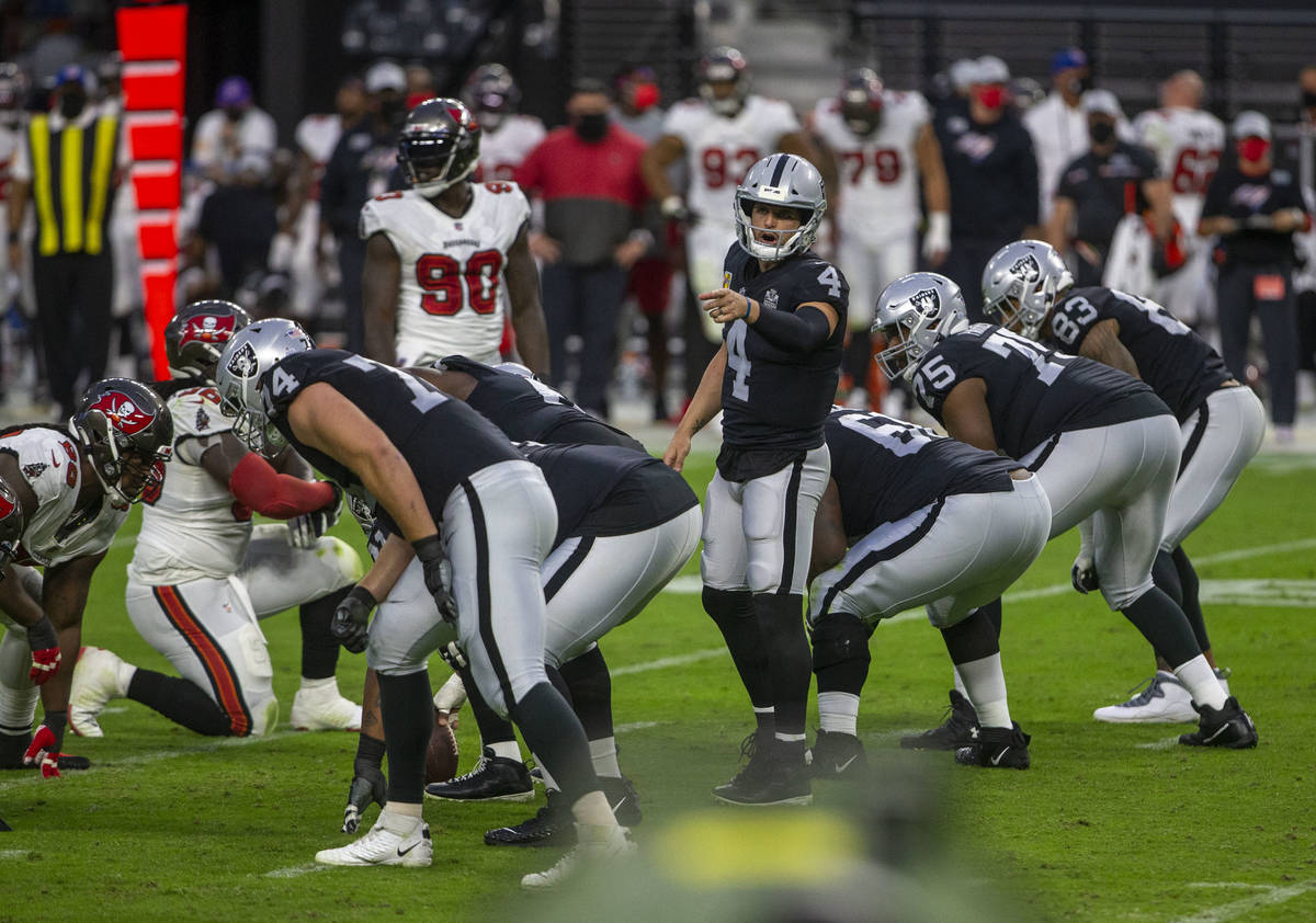 Las Vegas Raiders quarterback Derek Carr (4) points as he yells from the line of scrimmage duri ...