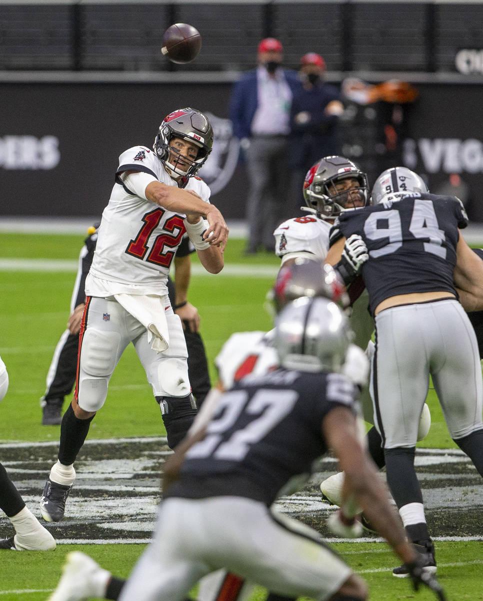 Las Vegas Raiders wide receiver Zay Jones (12) throws a pass against the Las Vegas Raiders duri ...